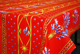 Lavender Red Coated Cotton Provence Tablecloth - Le Cluny