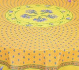 Lavender Yellow Coated Cotton Provence Tablecloth - Le Cluny