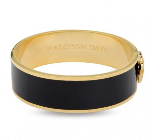 Halcyon Days, Leopard Head Black Enamel Hinged Gold Bangle