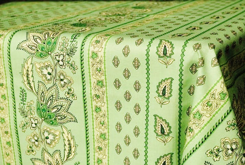 Lisa Pistachio Coated Cotton Provence Tablecloth - Le Cluny