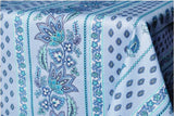 Lisa Turquoise Coated Cotton Provence Tablecloth - Le Cluny