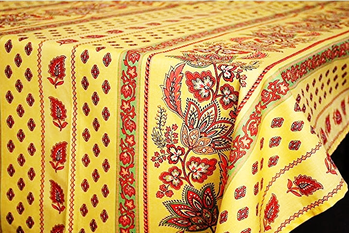 Lisa Old Yellow Coated Cotton Provence Tablecloth - Le Cluny