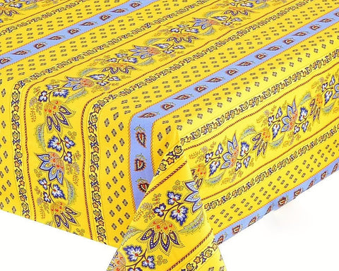 Lisa Yellow Coated Cotton Provence Tablecloth - Le Cluny