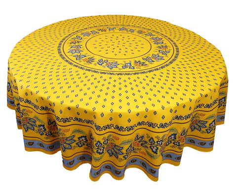 Lisa Yellow with Blue Coated Cotton Provence Tablecloth - Le Cluny