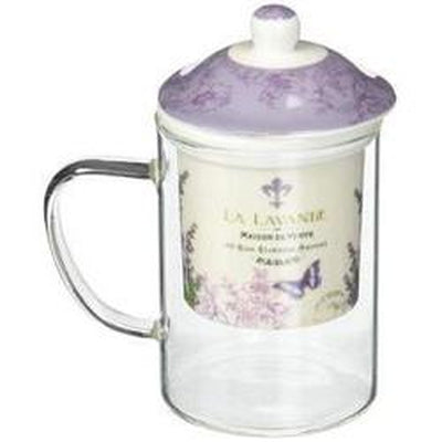 La Lavande Glass Tea Mug with Lid & Strainer, in Gift Box