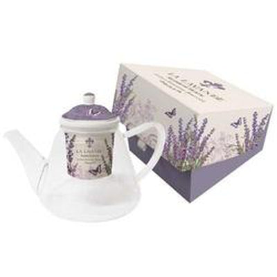 La Lavande Glass Teapot, with Lid & Strainer, in Gift Box