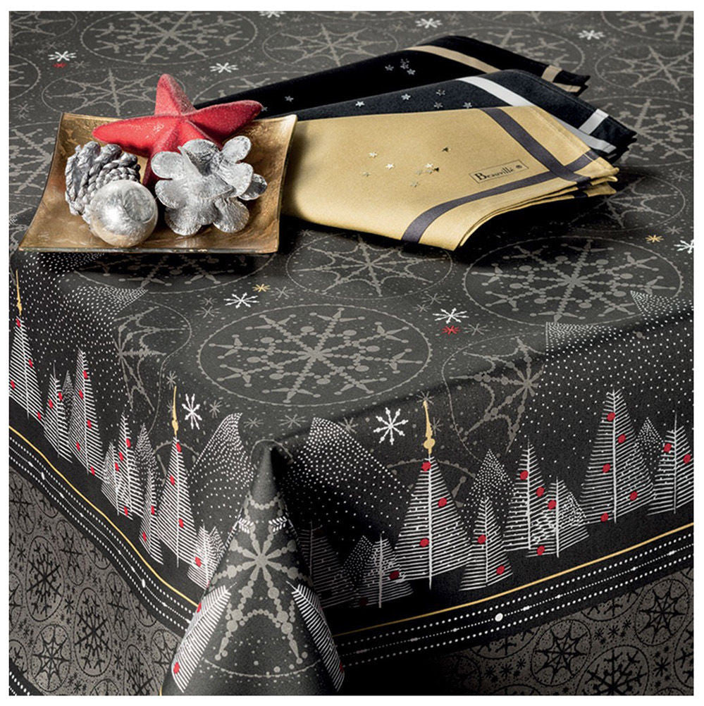 Megève Anthracite Christmas Holiday Tablecloth