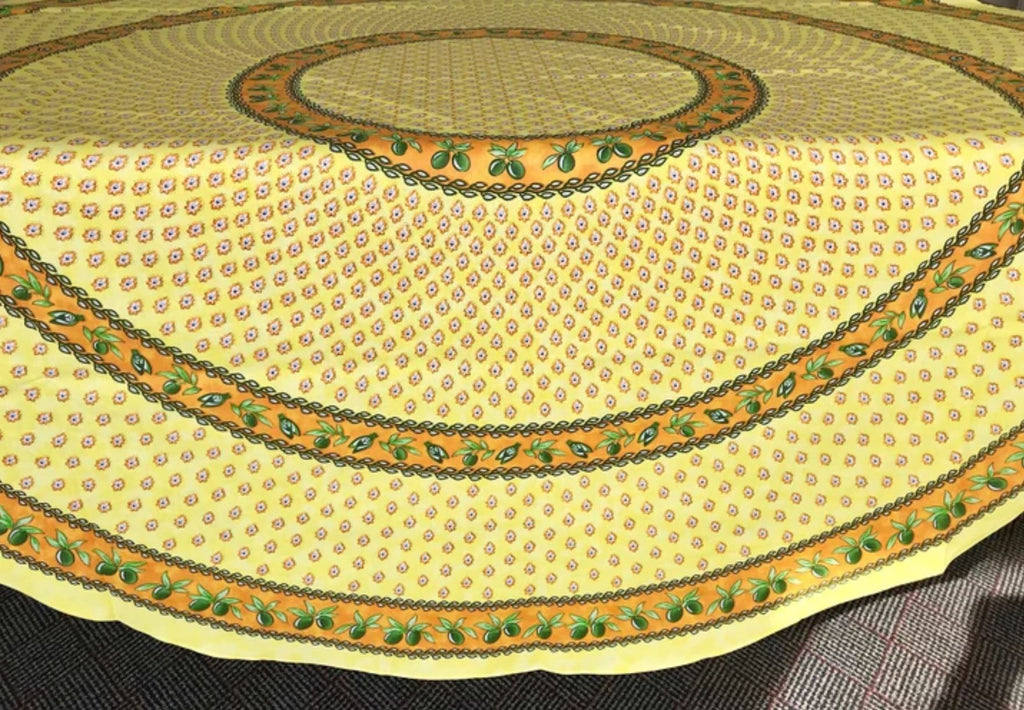 Monaco Yellow Coated Cotton Provence Round Tablecloth - Le Cluny