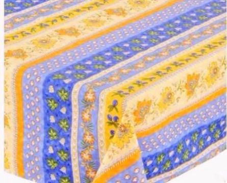 Monaco Blue Coated Cotton Provence Tablecloth - Le Cluny