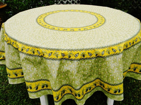 Monaco Yellow / Green Coated Cotton Provence Tablecloth - Le Cluny