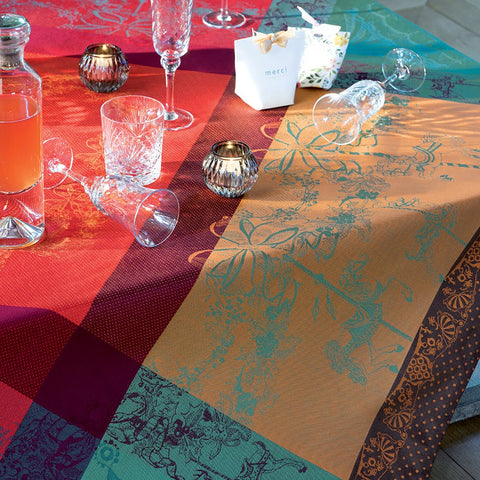 "Isaphire Feu (Fire Red) Tablecloth, High Thread Count, 69"" X 120"""