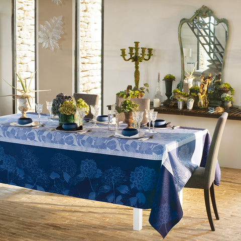 Hortensias Bleu Tablecloth, Organic Cotton