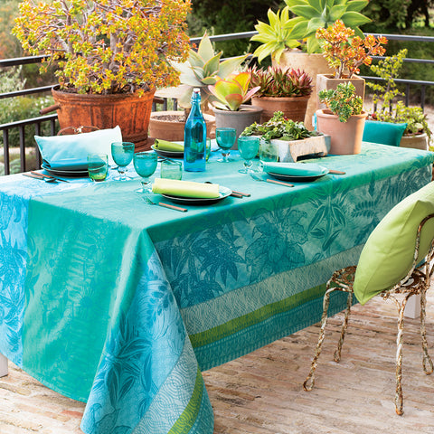 Mille Alocasias Atoll Tablecloth, Coated & Non-Coated