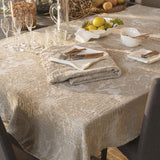 Mille Bloom Naturel Tablecloth, Reversible