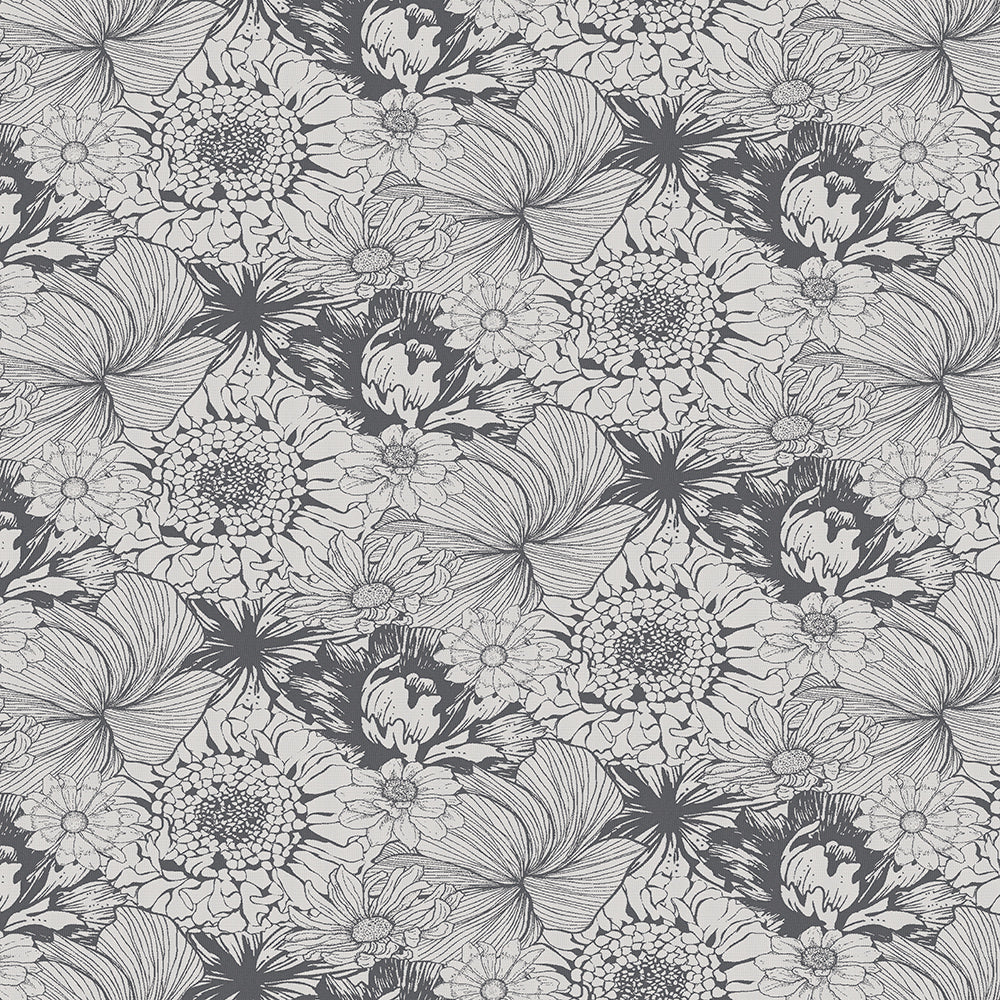 Mille Bloom Noir Tablecloth, Reversible