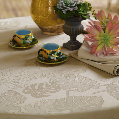 Mille Evergreen Ficelle Tablecloth, Coated & Non-Coated