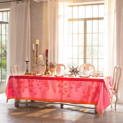 Ombelles Rose French Linen Tablecloth