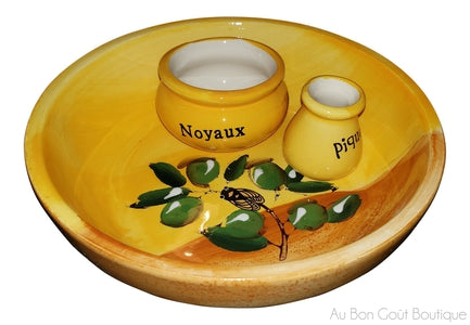 Traditional Ceramic French Provence Olives Serving Dish - All in French