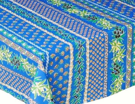 Olives & Mimosas Blue Coated Cotton Provence Tablecloth - Le Cluny