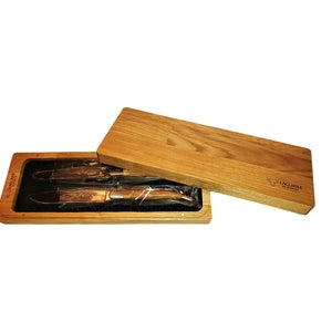 Laguiole en Aubrac, Set of 2 Steak SS Knives, Olive Wood Handles