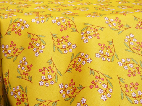 Petite Fleur Yellow Provence Coated Cotton Tablecloth, 2 Sizes - Le Cluny