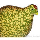 La Caille, French Ceramic Baby Quail, Green with Yellow, Head Up
