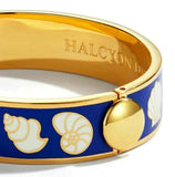 Halcyon Days, Shells Deep Cobalt & Cream Gold Bangle