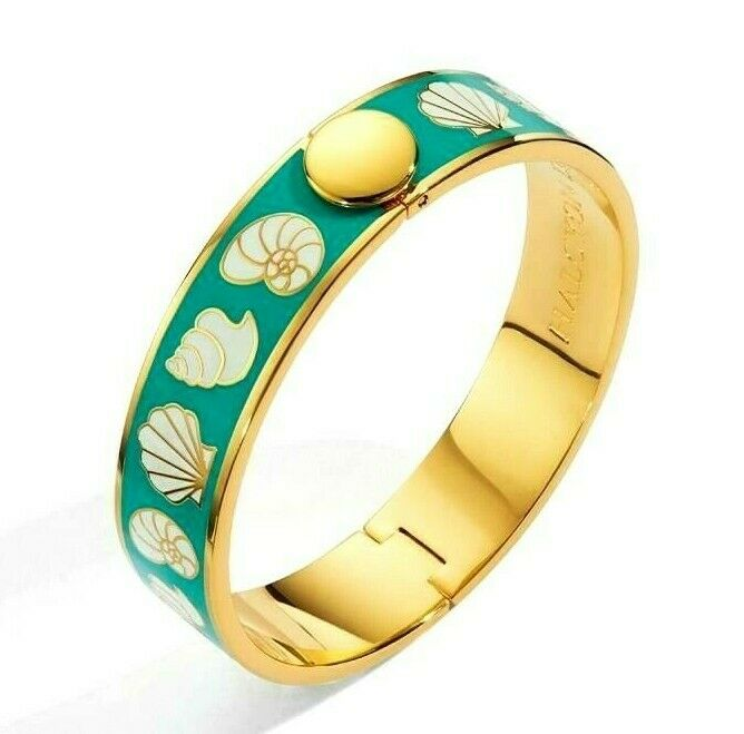 Halcyon Days, Shells Turquoise & Cream Gold Bangle