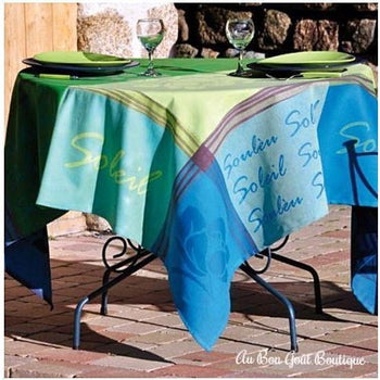 Soleou Blue Anis French Provence Jacquard Tablecloth