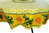 Sunflower Yellow Coated Cotton Provence Round Tablecloth - Le Cluny
