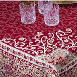 Sevilla Rouge French Provence Jacquard Tablecloth, 63