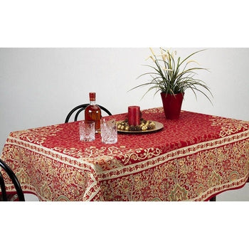 "Sevilla Rouge French Provence Jacquard Tablecloth, 63"" x 78"""