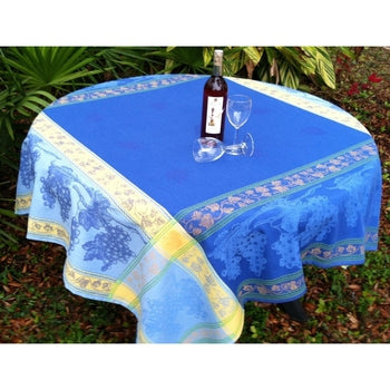"Royal, Blanc (White) French Tablecloth, 63"" x 83"""