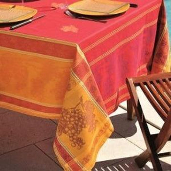 Tavel Red French Provence Jacquard Tablecloth