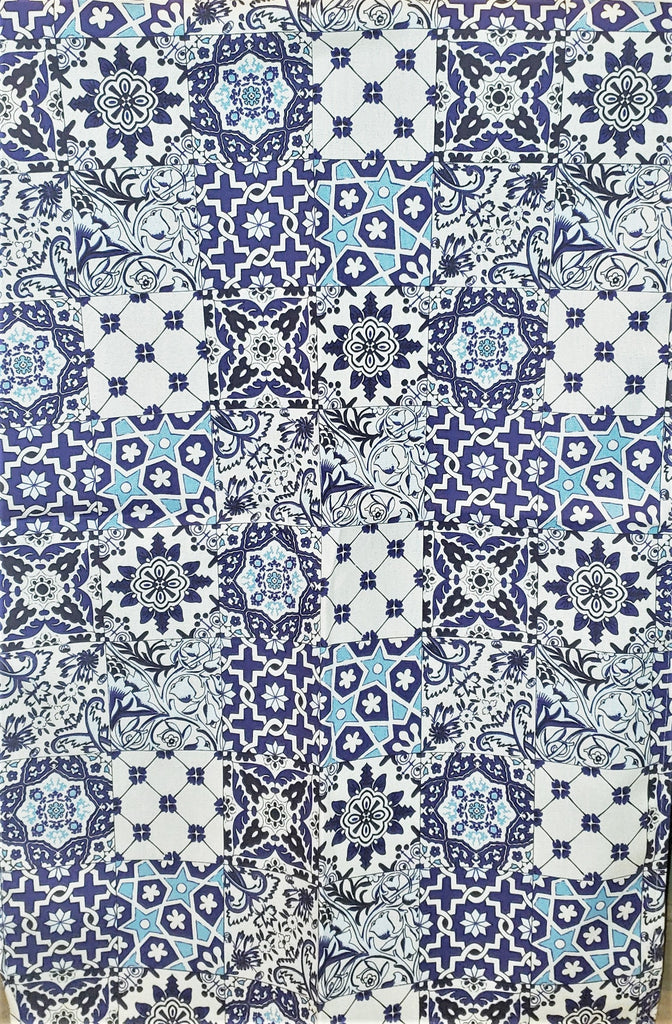 Samuel Lamont, Tiles Blue Kitchen / Tea Towel, V&A Museum