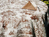 Trianon, Chocolate, Coated Cotton Toile Tablecloth - Le Cluny