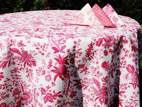 Versailles Raspberry Provence Coated Cotton Tablecloth - Le Cluny