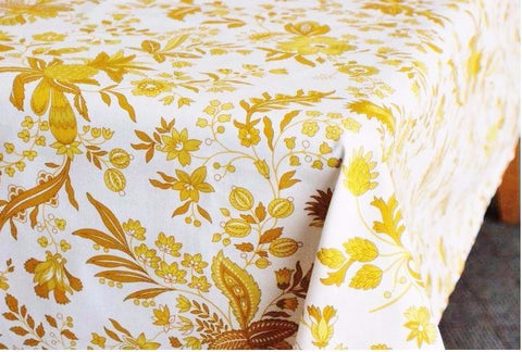 Versailles Yellow & White Provence Coated Cotton Tablecloth - Le Cluny