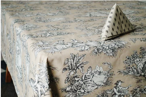 Villandry Beige, Coated Cotton Toile Tablecloth - Le Cluny