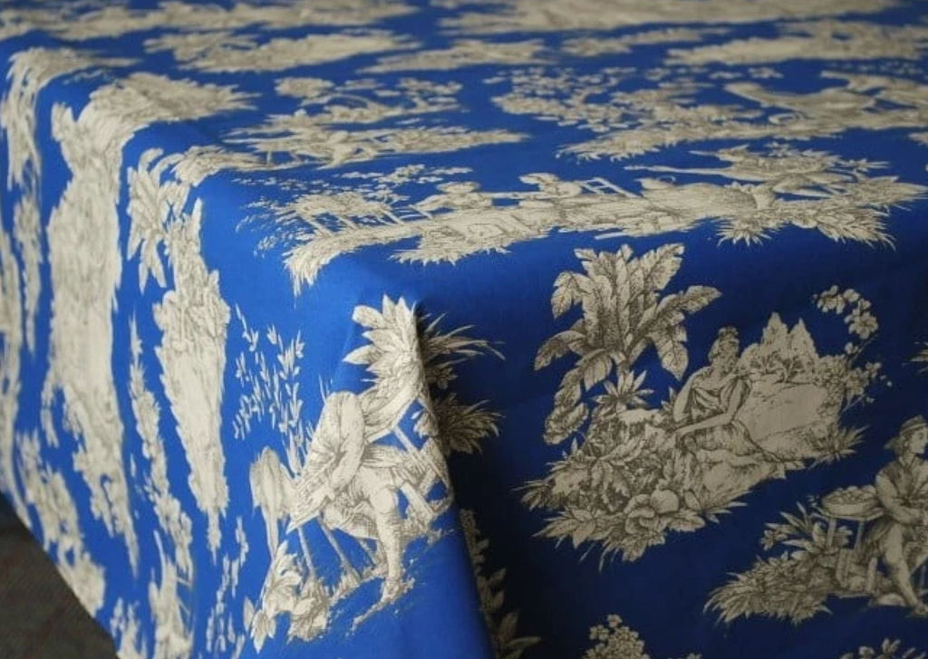 Villandry Blue, Coated Cotton Toile Tablecloth - Le Cluny