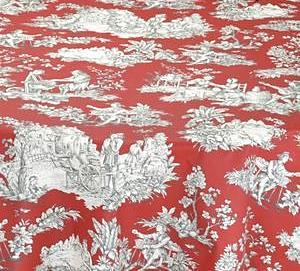 Villandry Red, Coated Cotton Toile Tablecloth - Le Cluny