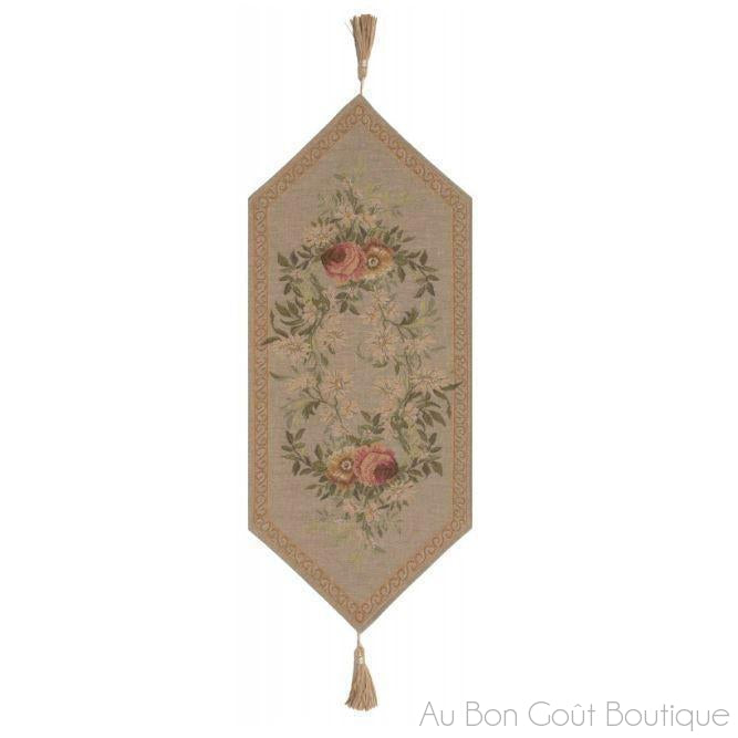 Aubusson Tapestry Table Runner, with Tassels