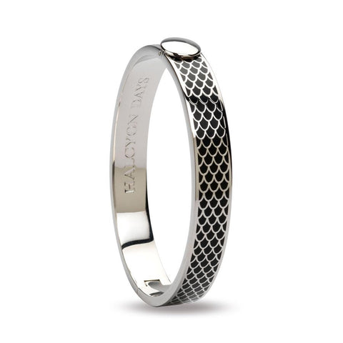 "Halcyon Days, ""Salamander"" Black Enamel & Palladium Hinged Bangle"