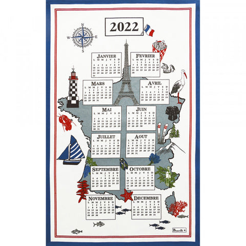 "Beauvillé, 2022 French Annual Calendar, ""Douce France"" Kitchen / Tea Towel"