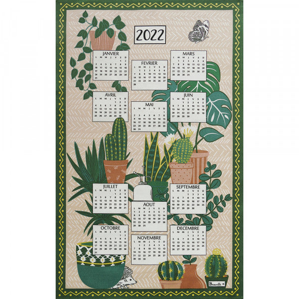 "Beauvillé, 2022 French Annual Calendar, ""Pampa"" Kitchen / Tea Towel"