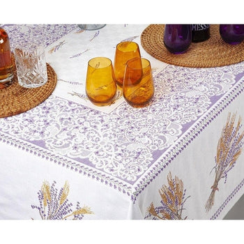 "Azur Bleu French Linen Tablecloth, 58"" x 120"""