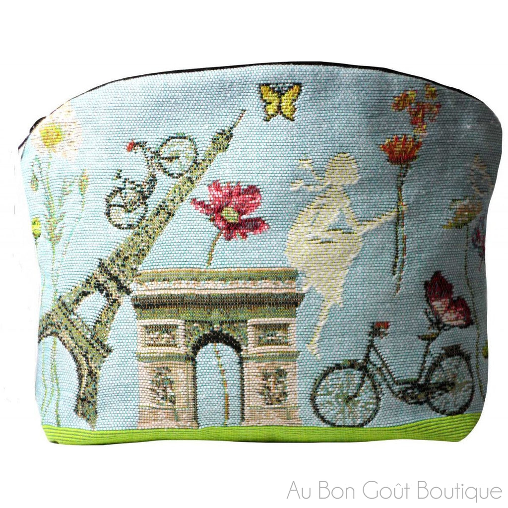 Flowery, Paris French Tapestry Zippered Case (Pouchette)