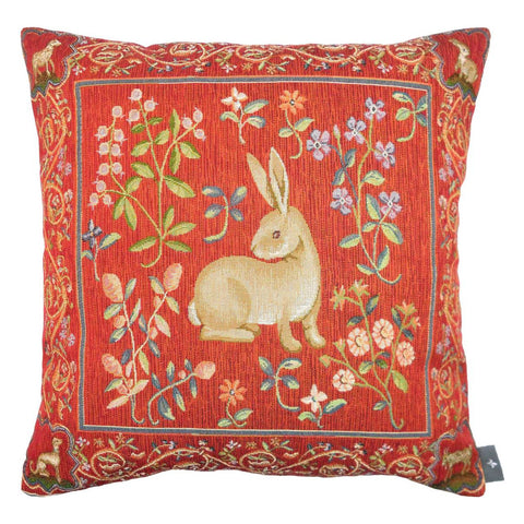 "Art de Lys, Rabbit Looking Right Pillow / Cushion Tapestry Cover, 14"" x 14"""