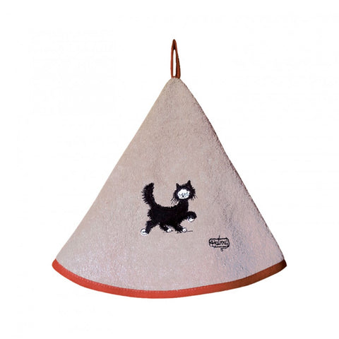 Dubout, Chat Balade (Strolling Cat) Dark Beige Round Hand Towel with Hanging Loop
