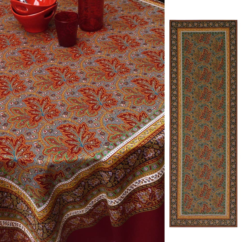 Feuilles de Vigne (Vine Leaves), Red, Table Runner